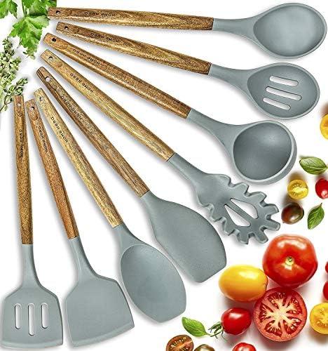 Home Hero Silicone Cooking Utensils Kitchen Utensil Set  8 Natural Acacia Wooden Silicone Kitchen