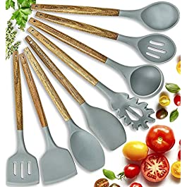 Home Hero Silicone Cooking Utensils Kitchen Utensil Set – 8 Natural Acacia Wooden Silicone Kitchen Utensils Set…