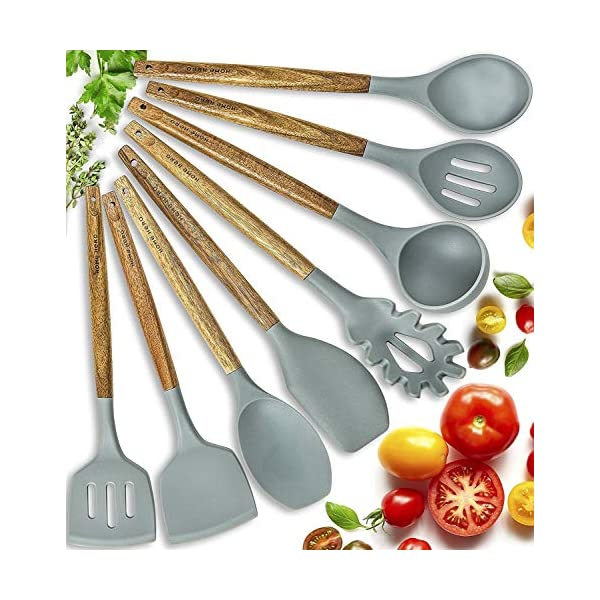 Home Hero Silicone Cooking Utensils Kitchen Utensil Set - 8 Natural Acacia Wooden Silicone Kitchen Utensils Set… 1