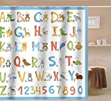 Sunlit Alphabet Fabric Shower Curtain for Kids ABC Educational Learning Tool for Boys and Babies Large A to Z Poster Tapestry Waterproof Mildew Resistant Polyester Bathroom Curtains- Blue
