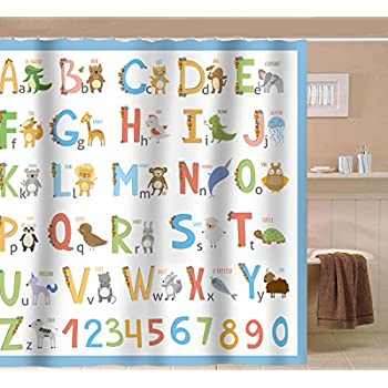 Amazon.com: Kids Shower Curtain Sea WITH Hooks - Somethings Fishy ...