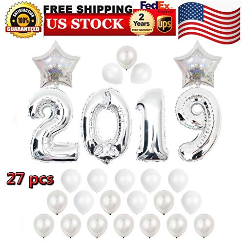 Balloons, 2019 Balloons New Year Balloon Banner Backdrop Kit, Silver 2019 Foil Number Balloons, Silver and White Latex Balloons for Events New Years Eve Birthday Party Decoration Supplies Decorations