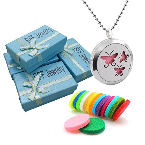 BFF Jewelry Aromatherapy Essential Oil Necklace Diffuser Locket Sweet Butterfly Insect Pendant Necklaces