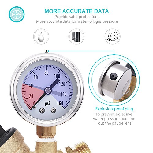mictuning adjustable water pressure regulator with gauge and inlet filter c46500 lead free brass. Black Bedroom Furniture Sets. Home Design Ideas