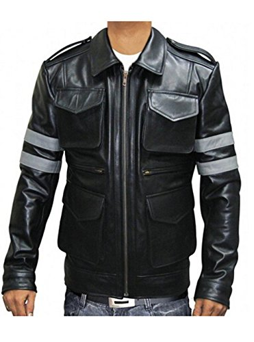 [Koveinc Resident Evil 6 Game Leather Jacket - Black PU Leather-Male-XXX-Large] (Leon Kennedy Costumes)