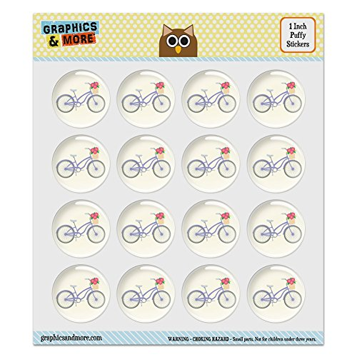 Puffy Bubble Dome Scrapbooking Crafting Stickers - Bicycle Bike With Basket of Flowers - Set of 16 - 1.0