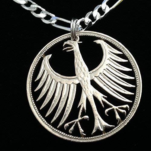 German Silver Five Mark Eagle Cut Coin Pendant Necklace
