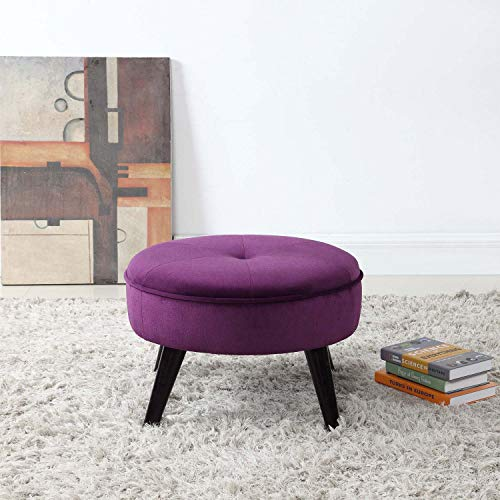 Divano Roma Furniture Classic Tufted Large Velvet Round Footrest/Footstool/Ottoman (Purple)