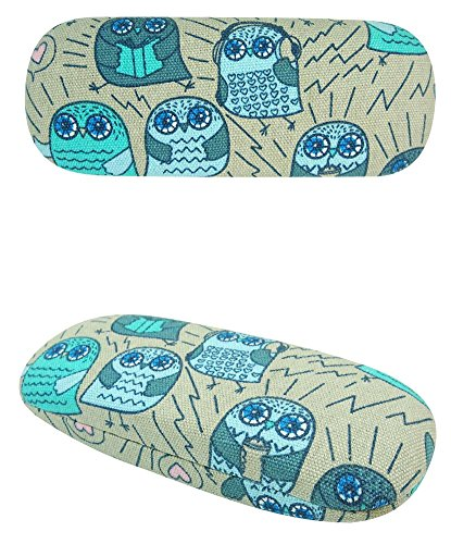 JAVOedge Cartoon Owl Pattern (Brown) Eyeglass / Reading Glass Hard Case and Bonus Microfiber Cleaning Cloth