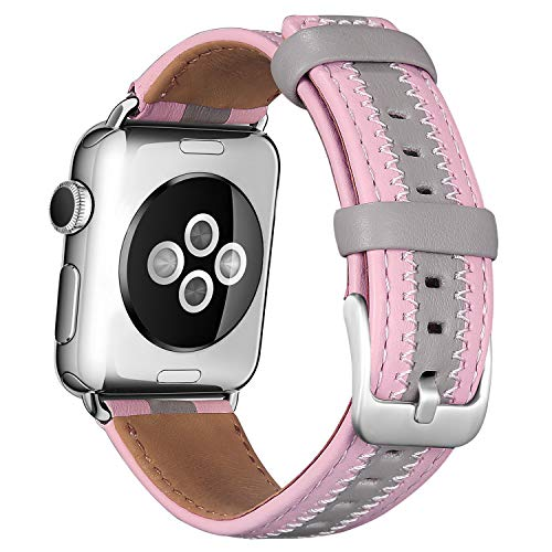 Jobese Compatible Apple Watch Band 42mm/44mm 38mm/40mm, Soft Classic Genuine Leather Straps Compatible Apple Watch Series 4, Series 3, Series 1&2, Sports&Edition Accessories Wristbands