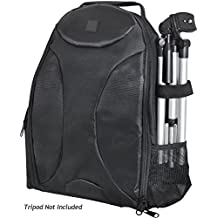 Photography BackPack For: Panasonic Lumix DMC-FZ35 (Lumix DMC-FZ38) - Tripod Sleeve, Six Inner Dividers, Water & Shock Resistant, Two Side Pockets - Camera Back Pack Case