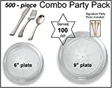 500-piece Combo Party Pack, Premium Plastic Clear Scrollware Plates and ...