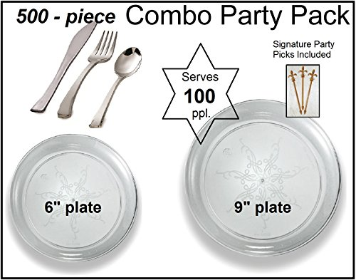 500-piece Combo Party Pack, Premium Plastic Clear Scrollware Plates and Silver Cutlery w/ Signature Party Picks - SERVES 100 ()