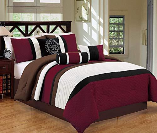 JBFF Oversize 7 Piece Bed in Bag Microfiber Luxury Comforter Set Burgundy Cal King