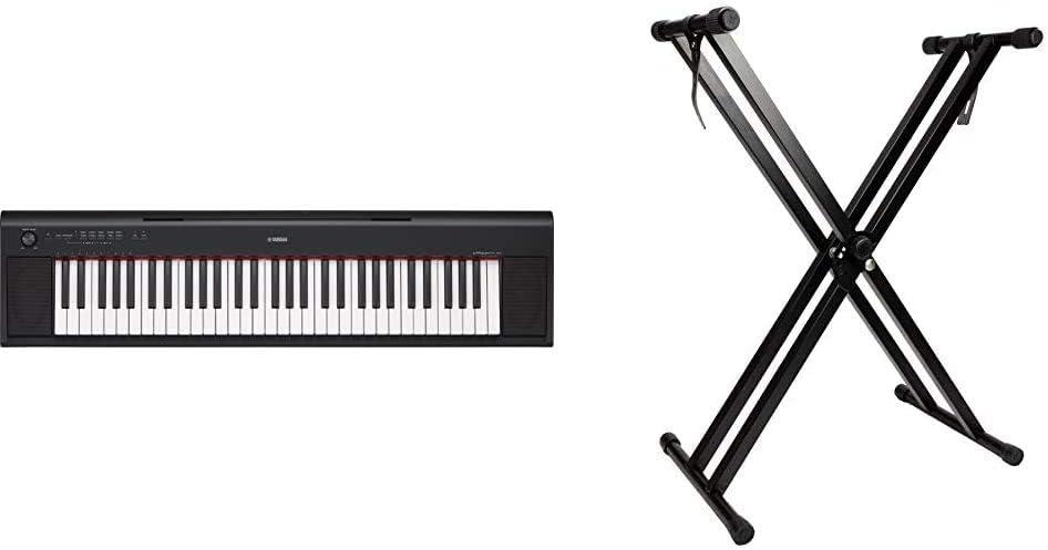 Yamaha NP-12 PiaggeroTeclado digital portátil sencillo y elegante con 61 teclas, para aficionados y principiantes + RockJam Soporte de teclado de ...