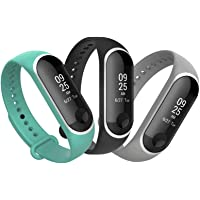 Replacement Bands for Xiaomi Mi Band 3 Miband 3, 3 Pack Blue Grey Black Silicone Straps Wristbands for Xiaomi Mi Band 3
