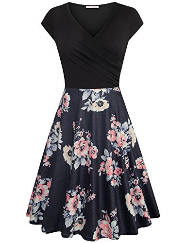 Elegant Dresses for Women,Homecoming Dresses Short Sleeve Girls Petite Basic Cap Sleeve Wrap Cross V Neck Soft Knit Cotton Nurse in Printed Shirred Drape Party Dress Multicolor Black (Shirred Waist Knit Dress)