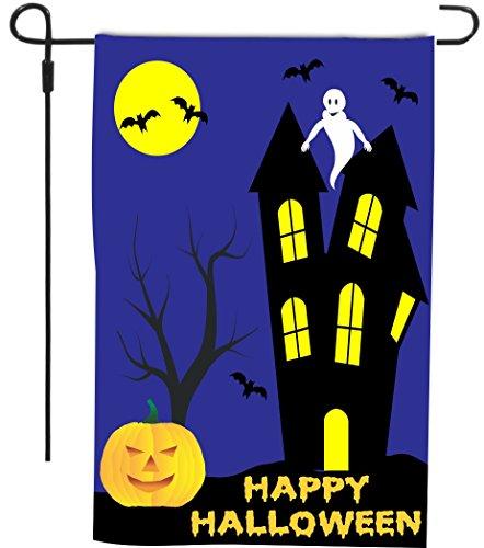 Rikki Knight Happy Halloween White Ghost above haunted House