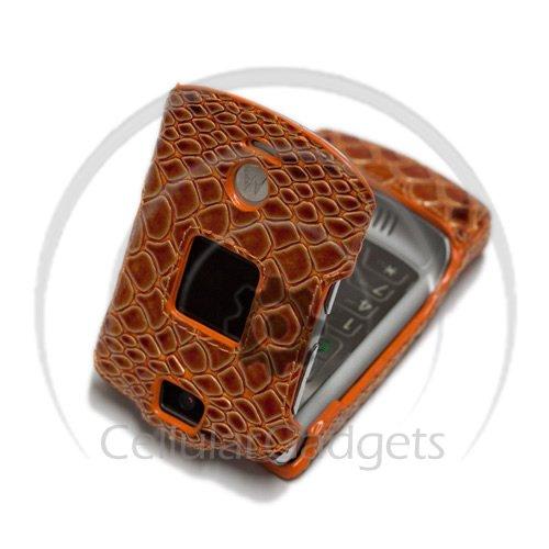 PREMIUM ORANGE SNAKE SKIN Faceplate / Case / Cover for Motorola V3