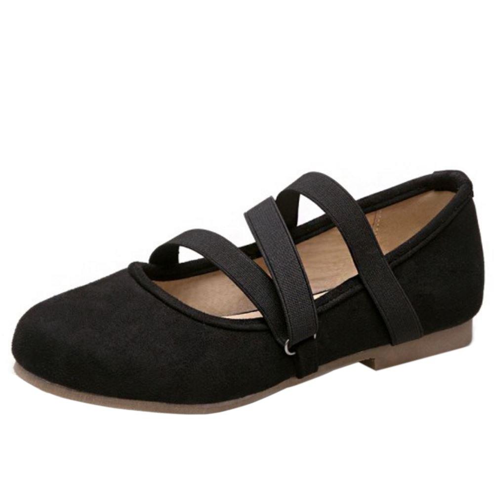 Zanpa Donna Comfort Flat Pumps Elastic Strap 1#black