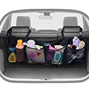 BEST AUTO TRUNK ORGANIZER - Keep your Car Clean and Organized. Durable Foldable Cargo Net Storage for More Trunk Space. Secure Car Organizer with Adjustable Straps to Fit All Vehicles.