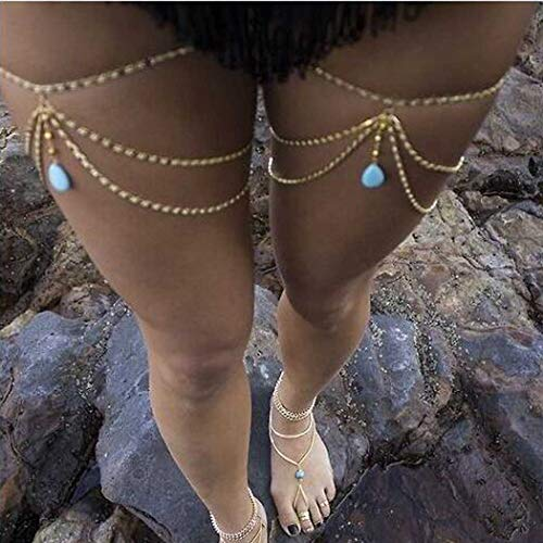 Evazen Boho Turquoise Leg Chain Beach Gold Crossover Thigh Chain Thigh Jewelryfor Women and Girls(1PC)