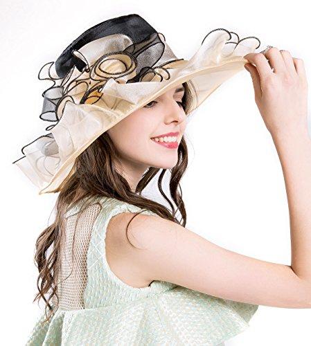 Cheap Derby Hat (Women's Kentucky Derby Church Sun Hat Tea Party Wedding Floral Summer Hat Wide Brim (7beige))