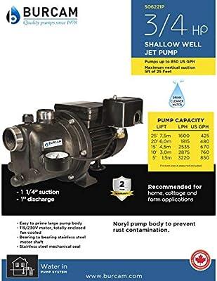 BURCAM 506221P Noryl Shallow Well Jet Pump