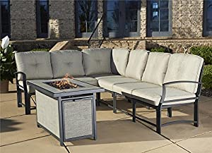 Cosco Outdoor 7 Piece Serene Ridge Aluminum Sofa Sectional Patio Furniture  Set With Cushions And Aluminum Gas Fire Pit Table, Dark Brown
