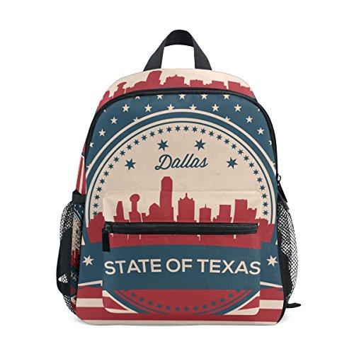 Age 3-8 Vintage American Flag Texas State Dallas Skyline Toddler Preschool Backpack,...