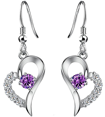 Women Fashion Heart Shaped Crystal Dangle Drop Earrings Hook 925 Silver by Joyfulshine