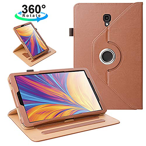 ZoneFoker Samsung Galaxy Tab A 10.5 inch 2018 SM-T590/T595 Tablet Leather Case, 360 Degree Rotating Multi-Angle Viewing Auto Sleep/Wake Folio Stand Cover with Pencil Holder and Card Pocket - Brown
