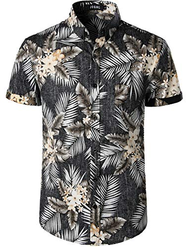 JOGAL Men's Flower Cotton Button Down Short Sleeve Hawaiian Shirt X-Large Vintage Black Palm Leaf