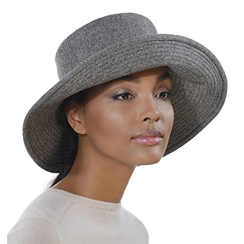 Eric Javits Designer Women's Luxury Headwear - Tweed Floppy Blue Mix by Eric Javits