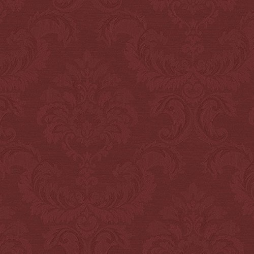 Manhattan Comfort NWSK34738 Hyattsville Silk Damask Textured Wallpaper, Red