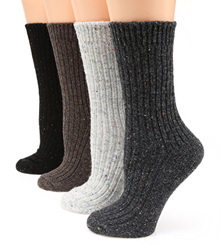 MIRMARU M110 Women's Premium Winter 4 Pairs Wool And Cotton Blend Crew Socks Collection (Charcoal,Ivory,Brown,Black),Medium / Shoe Size:6-9. from MIRMARU