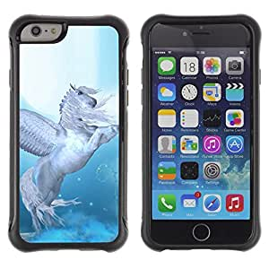 All-Round híbrido Heavy Duty de goma duro caso cubierta protectora Accesorio Generación-II BY RAYDREAMMM - Apple iPhone 6 PLUS 5.5 - Pegasus Wings Blue White Horse Animal