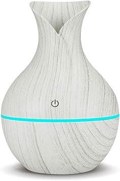 difusor el/éctrico de aroma Newkbo luces LED para la casa Humidificador de aire ultras/ónico de difusor de aceites esenciales de aroma USB con grano de madera bays claro 130 ml