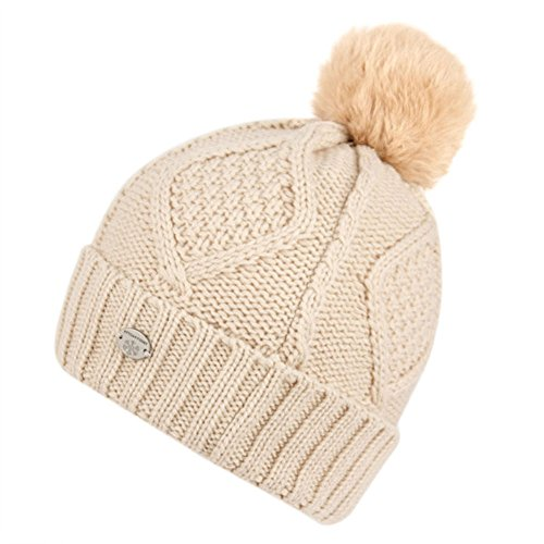 Women's Thick Cable Knit Beanie Hat with Soft Faux Fur Pom Pom - Khaki