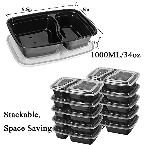 50 SZUAH Meal Prep Containers - Bento Lunch Boxes with Lids - 2 Compartment Food Containers, BPA Free, Stackable & Reusable, Dishwasher/Microwave/Freezer Safe - 34 oz … … by SZUAH (Image #1)