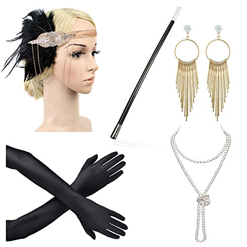 Beelittle 1920s Accessories Headband Earrings Necklace Gloves Cigarette Holder (D3)