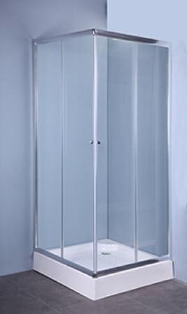 CAPALDO IGLO - Mampara de cristal transparente con 2 puertas de 70 x 70 cm y 5 mm de grosor: Amazon.es: Hogar