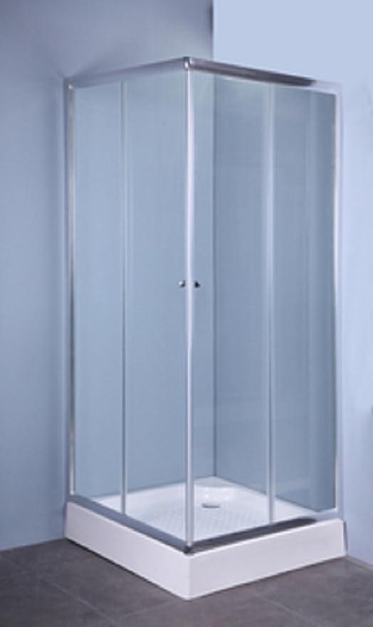 CAPALDO IGLO - Mampara de cristal transparente con 2 puertas de 70 x 90 cm y 5 mm de grosor: Amazon.es: Hogar
