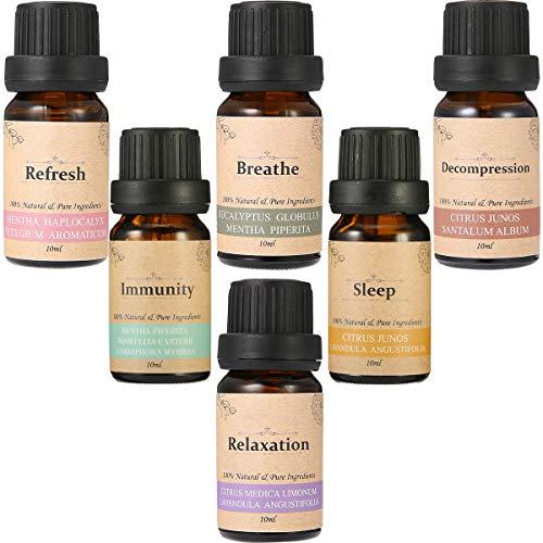 Essort 6 × 10ml Essential Oils for Aromatherapy, Organic Essential Oils for Diffusers, 100% Pure Natural (Orange, Lavender, Peppermint, Eucalyptus, Bergamot, Clove and Incense)