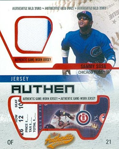(Sammy Sosa player worn jersey patch baseball card (Chicago Cubs) 2003 Fleer Authentix Mini #21)