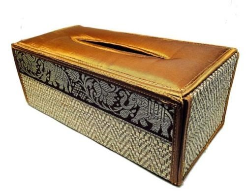 Brown Handmade Thai Woven Straw Reed Rectangular Tissue Box Cover with Silk By - Sg Gatsby