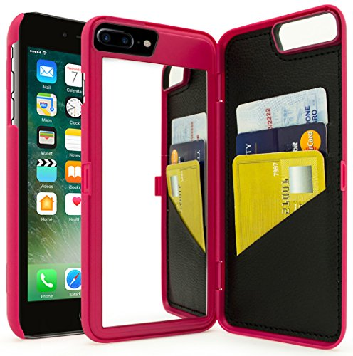iPhone 7 Plus Case, Bastex Hot Pink Hidden Back Wallet Mirror Case with Stand Feature and Card Holder for Apple iPhone 7 Plus