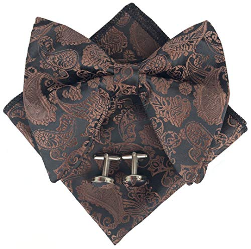 Mens Pre-Tied Paisley Bowtie Oversized Tuxedo Bow Tie Hankie Cufflinks Set (Coffee) ()