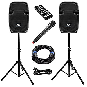 Seismic Audio - PAIO12 - Active 12 Inch PA Speaker System - Bluetooth, Wireless Mic, Speaker Stands and Cables by Seismic Audio