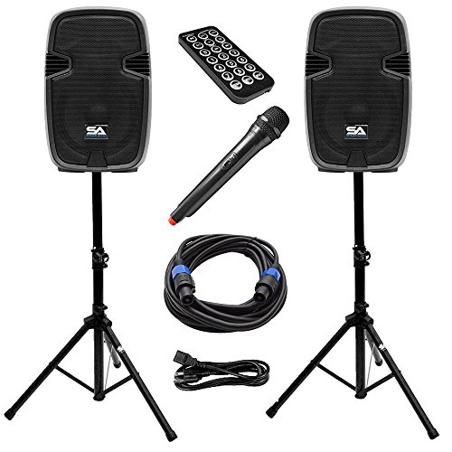 Seismic Audio - PAIO12 - Active 12 Inch PA Speaker System - Bluetooth, Wireless Mic, Speaker Stands and Cables